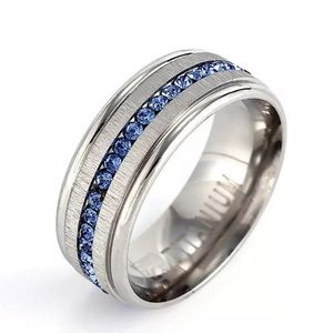 Other - NEW Titanium Blue Stone Men's Wedding Band Ring